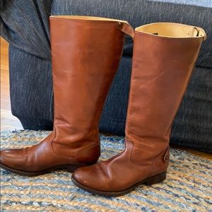 Frye boots brown leather size 9-1/2 extended calf